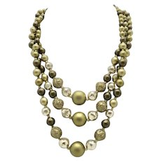 Vintage Three strand bead necklace Fifties style