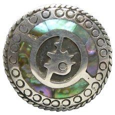 Sterling Silver Pin Mexican Silver Abalone Inlay Xola Pre-Columbian Motif