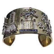 Applique Charm cuff 14 Karat Gold Platinum Witty charms