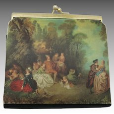 Vintage Wallet Painting Kiss clasp Romantic Painting