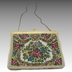 Evening Purse Petit Pointe Floral Design Slinky strap