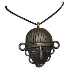 Bronze Pendant African mask Large Beautiful Patina