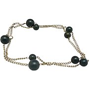 Classy station necklace Bloodstone beads gold fill chains