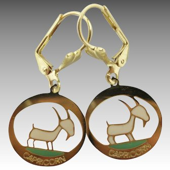 zodiac earrings Plique a Jour Seventies pierced CAPRICORN