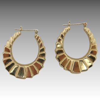 Estate Earrings 14 karat yellow gold Large Hoops