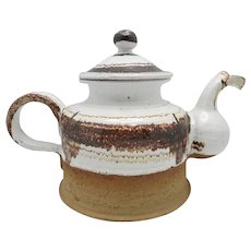 Danish Modern Tea Pot Brown White Glaze Heerwagen