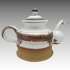 Danish Modern Tea Pot Brown White Glaze Heerwagen