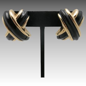 Estate X Kiss earrings 14 Karat Yellow gold Black enamel