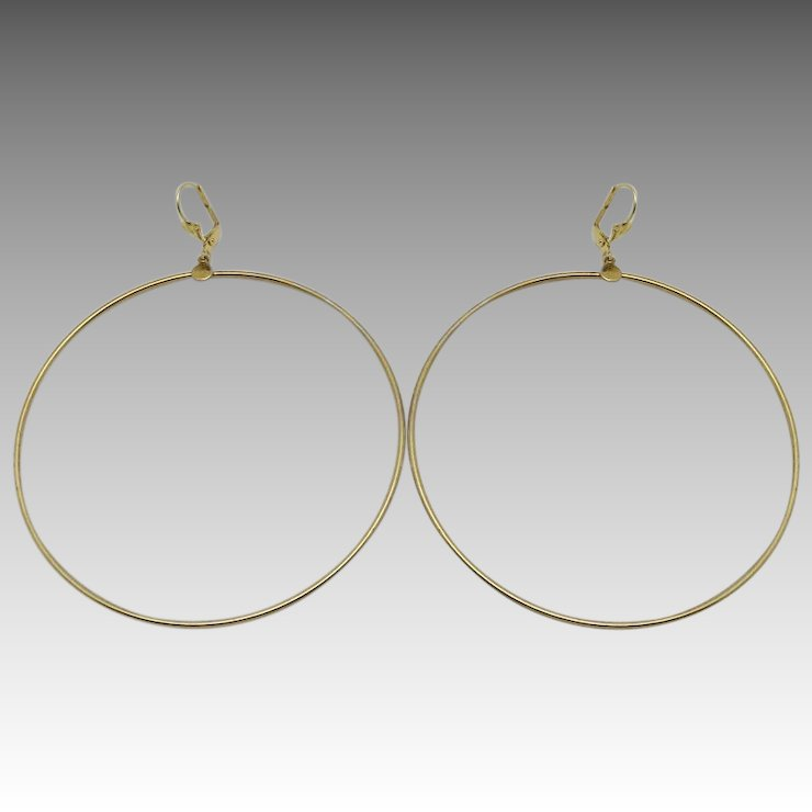 Hippie Boho Hoop Earrings Huge Gold Tone