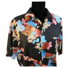 Hawaiian shirt Chrysanthemum Flowers Liberty House  Honolulu