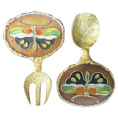 Enamel serving pieces Fork spoon Butterfly Korean