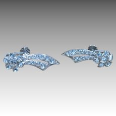 Superb quality rhinestone earrings Sterling silver Screw on