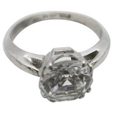 Sterling Engagement ring Vintage Uncas classic setting