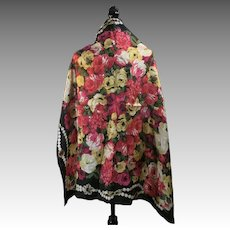 Large Scarf silk square pearls jewels black roses