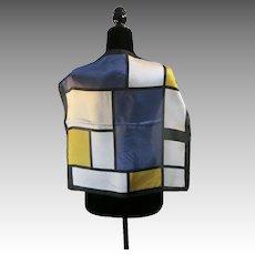 Modern Mondrian style scarf SILK WHite yellow Black BLUE