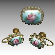 Enamel Earrings and pin Rhinestone accents Floral motif