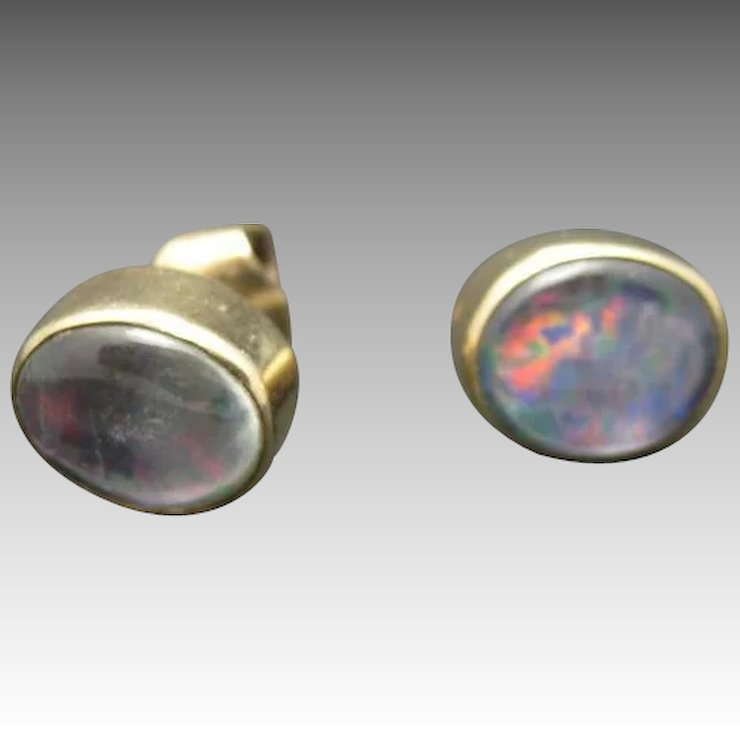 Fake Opal Earrings Pierced Posts Handmade