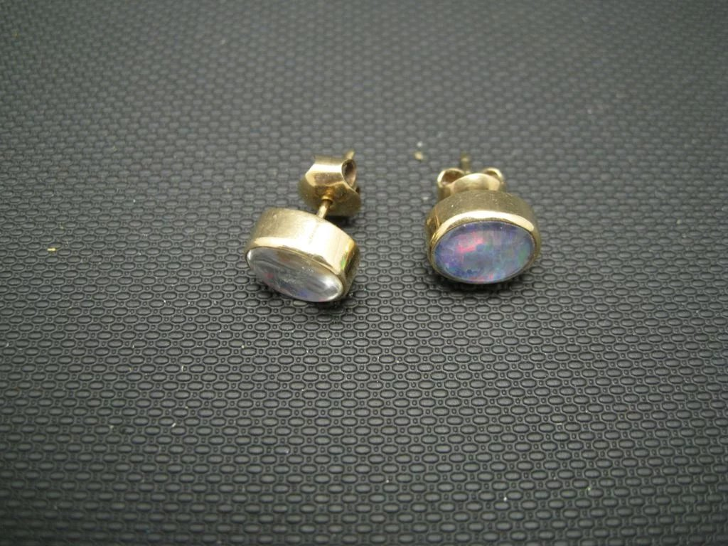 Fake Opal Earrings Pierced Posts Handmade Click To Expand