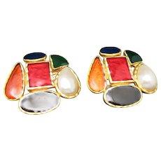 Depose Earrings BIG eighties Clip on MULTI color