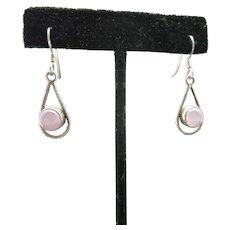 Dainty Sterling silver earrings Pink Stone Pierced