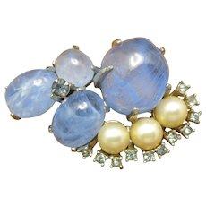 Fantastic Blue glass Marvella PIN Fake Pearls too