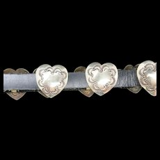 Leather Hat Band Hand made Heart COnchos Mexican