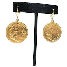 Coin earrings Large gold tone Metal Pierced