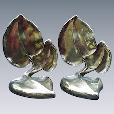 Leaf-Shaped Brass Bookends