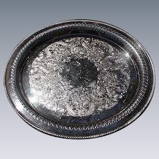Wm. Rogers Round Silverplated Tray with Reticulated Border
