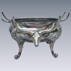 Stag Head Preserve Dish, Antique Silverplate