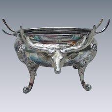 Stag Head Preserve Dish, Antique Silverplate