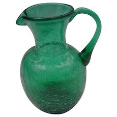 Vintage Emerald Green Crackle Glass Pitcher with Pull Over Handle