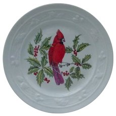 Mottahedeh Cardinal Plate with Embossed Border