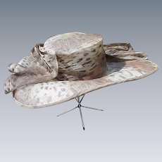 Leopard Print Straw Picture Hat with Huge Bow