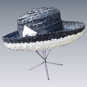 Black and White Vintage Straw Hat with Wide Rolled Brim