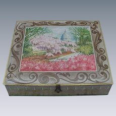 Vintage Sunshine Biscuit Cookie Tin with Scene of Capitol and Cherry Blossoms