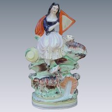 19th C. English Staffordshire Figurine, Billy Goat Under Bridge, Girl with Lamb and Harp Atop the Hill