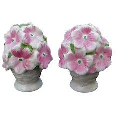 Italian Ceramic Salt and Pepper Shakers, Flowers in a Woven Basket