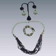 Beautiful Miriam Haskell Parure--Necklace, Bracelet, and Clip Earrings