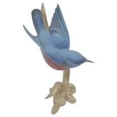Tiny Boehm Bluebird on Goldtone Branch