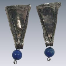 Stylized Sterling Clip Earrings, Elongated Triangle with Blue Bead