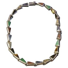 Mexican Sterling Necklace with Inset Onyx, Malachite, Agate, Cat's Eye
