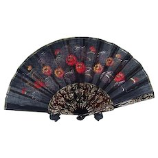 Vintage Black Fan with Hand-Painted Flowers