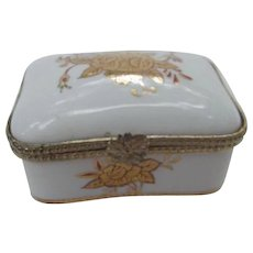 Vintage White Porcelain Pill Box,Hand-Painted Gold Floral Decoration,  Made in Japan,
