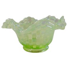 Vintage Green Opalescent Pressed Glass Bowl, Basket Weave with Reticulated Rim
