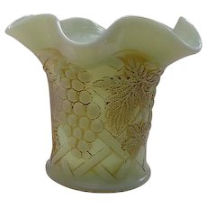 Antique Custard Glass Vase with Grape and Vine Motif