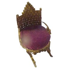 Victorian Rocking Chair Pink Cushion, Metal with Velvet Seat