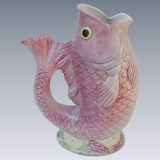Fitz and Floyd Hand-Painted Fish-Shaped Pitcher, 1986
