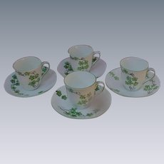 Fine Bone China Demitasse Cups and Saucer, England, Deco Era