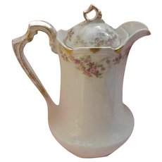 Double-Marked Limoges Coffee Pot, Pink Floral Design, Gold Accents